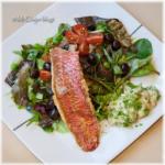 Aubergine salade, rode mul, dragonmayonaise