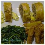 Gehaktbrood, mosterdsaus, koolraap en spinazie
